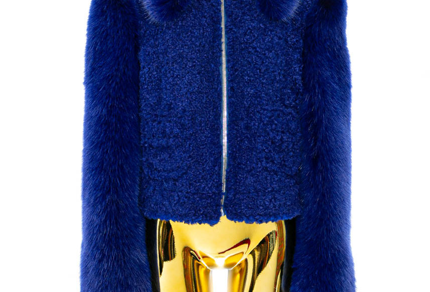 SHRIMPS / Curly Jacket with Faux Fur Sleeves / Royal Blue