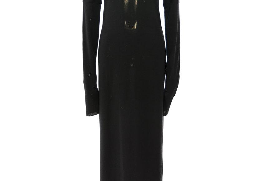 YAT PIT / ROLL NECK DRESS / BLACK-KNIT
