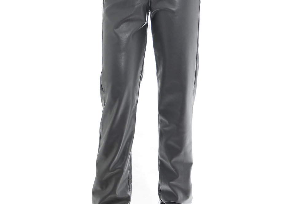 JOHN / Faux Leather Trousers / Grey