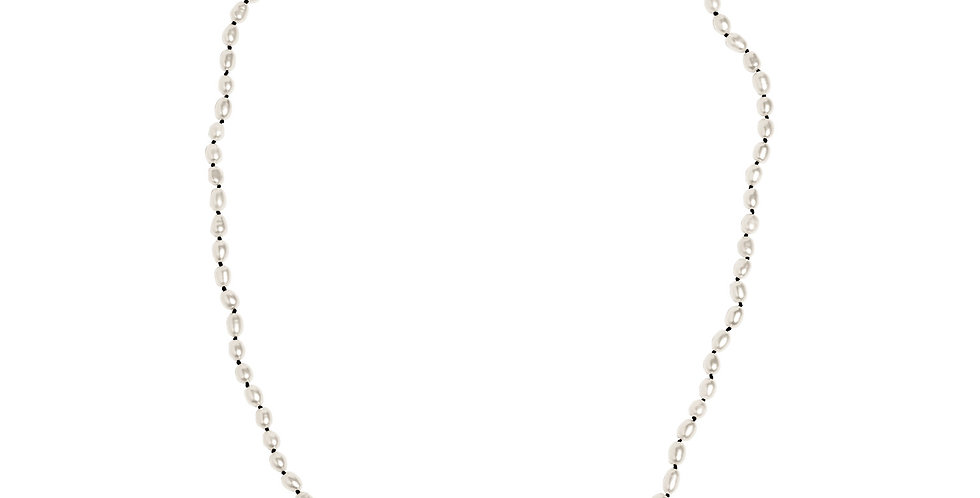 D'HEYGERE X DADA SERVICE / RICE PEARL NECKLACE /WHITE SILVER