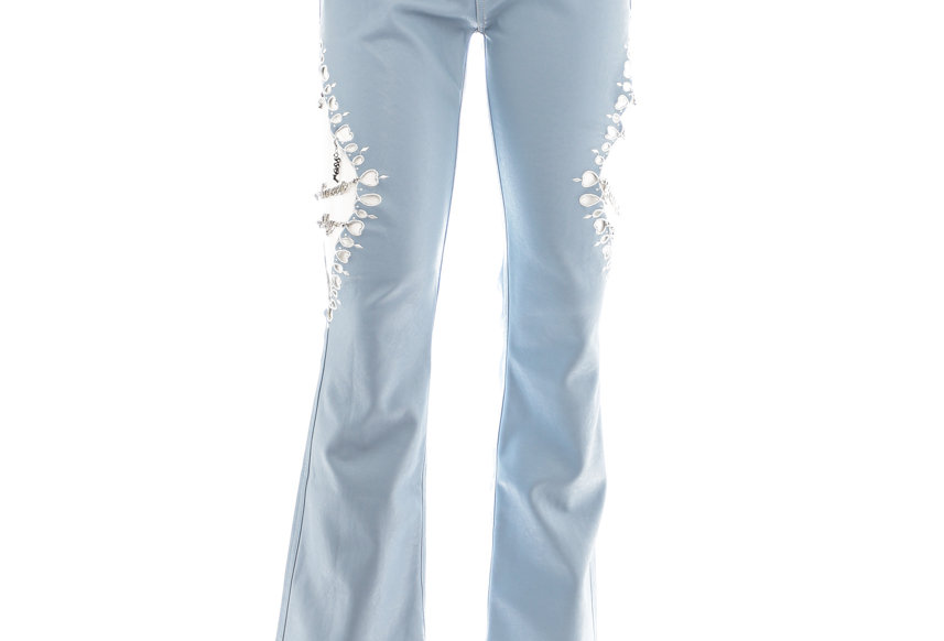 NODRESS / Laser Cut Embroidery Leather Slim Trousers / Blue