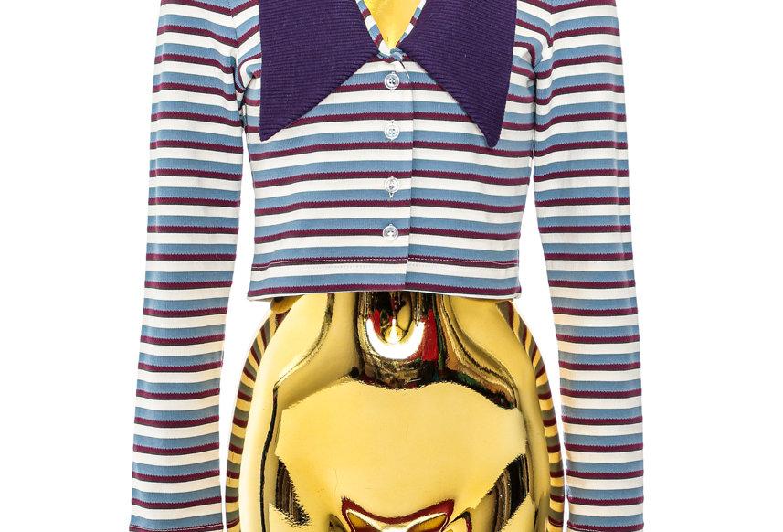 JOHN / Striped Cardigan / Purple & White