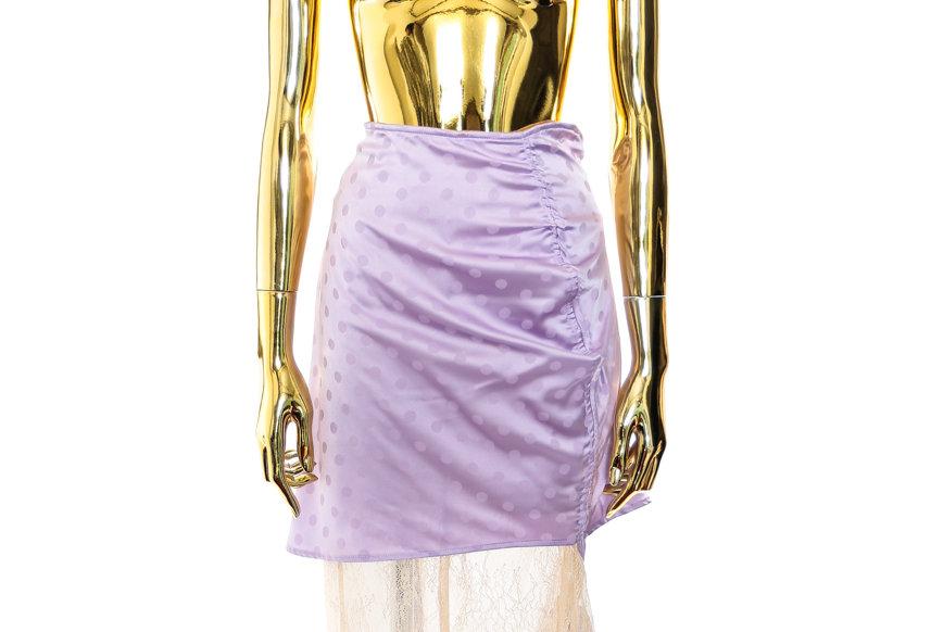 NODRESS / Lilac dot naked lace asymmetrical skirt