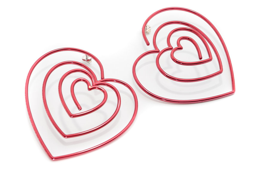 Y/PROJECT / HEART HOOP EARRINGS / RED