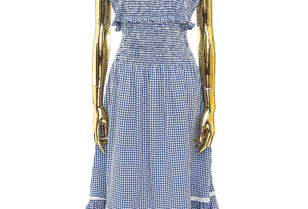 SHRIMPS / SMOCKED BODICE FULL LENGTH DRESS / BLUE & CREAM