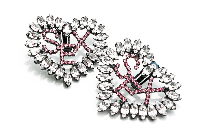 Ashley Williams / Heart Sex Earring / Clear/Pink Crystal
