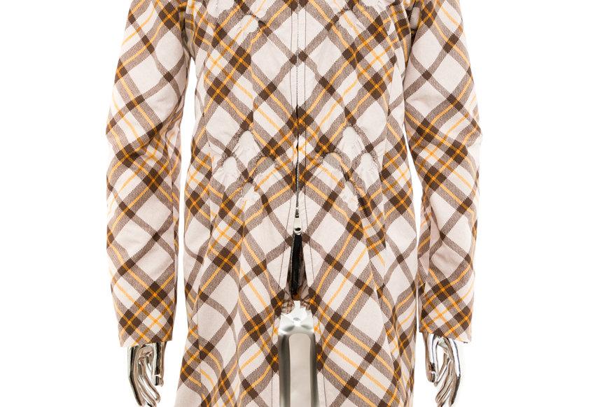 Stefan Cooke / Studded Tartan Print Coat / Beige and Brown
