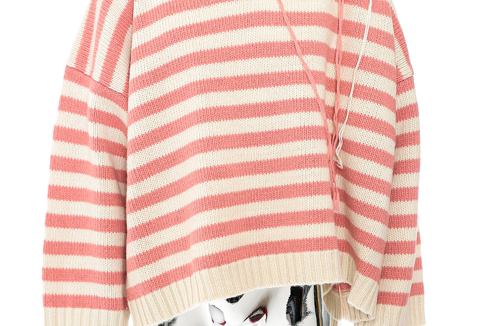 Charles Jeffrey / Slash Stripe Jumper / Pink+Ecru