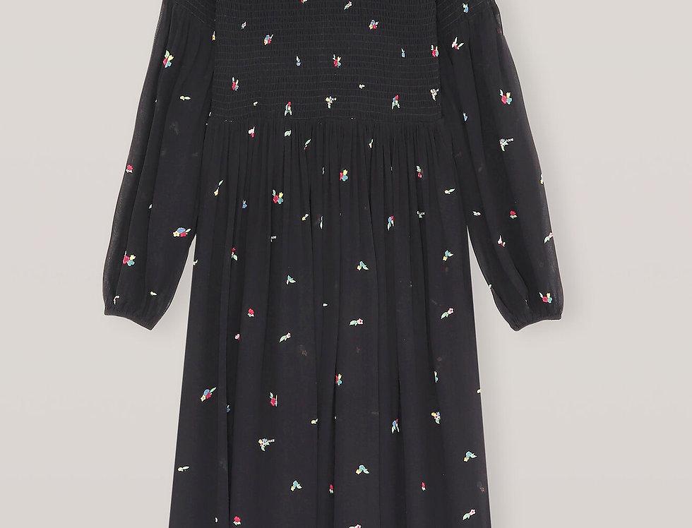GANNI / Printed Georgette Smock Dress / Black