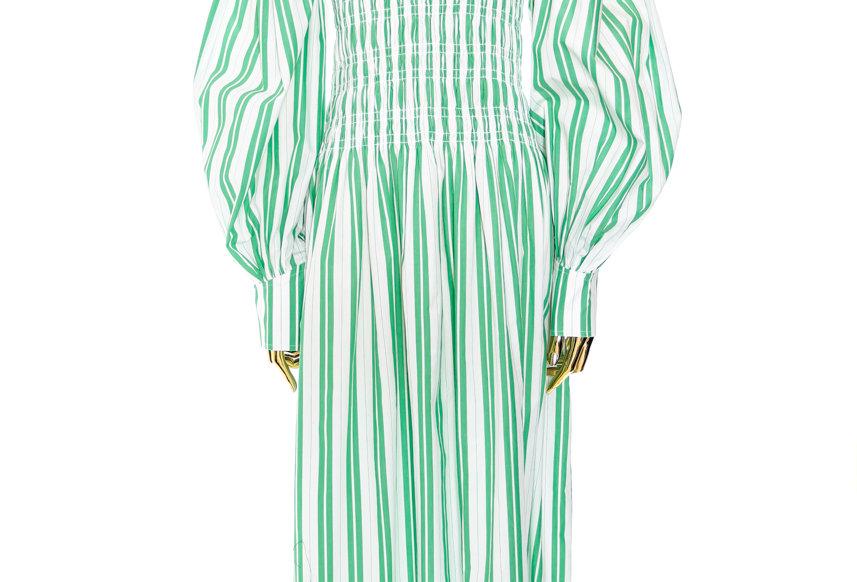 GANNI / Stripe Cotton  Smock Dress /  Kelly Green