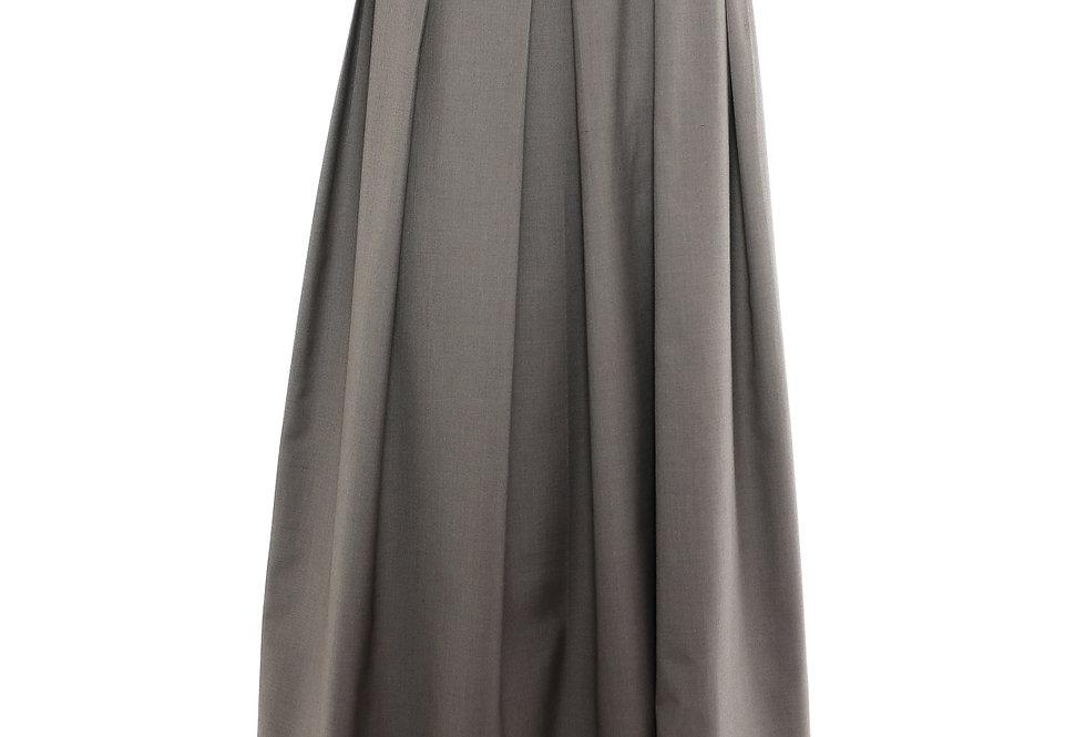 JOHN / Strapless Pleated Dress / Grey Green