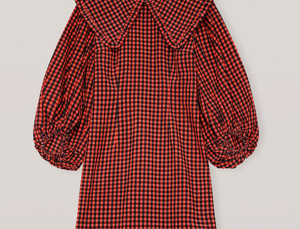 GANNI / Seersucker Check Mini Dress / Flame