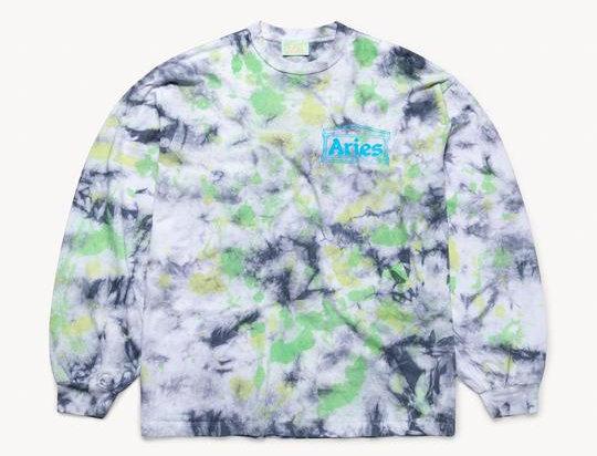 Aries / Temple Long Sleeve Tee / Tie Dye Green