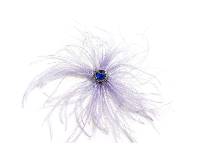 NODRESS / Lilac Ostrich hair cobalt rhinestone brooch