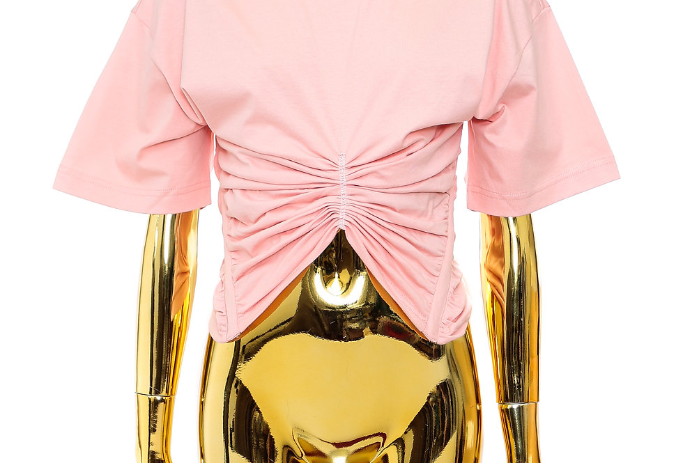 Y/PROJECT / RUCHED CORSET T-SHIRT / PINK
