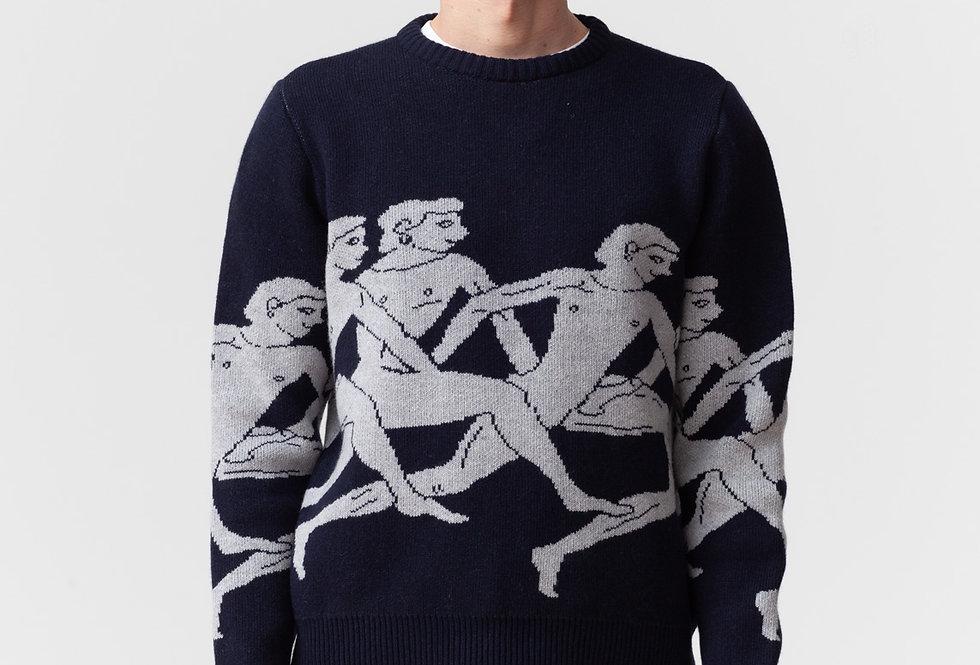 "Carne Bollente / ""MARASSTHONIENS"" Knitted Sweater / Navy Blue"