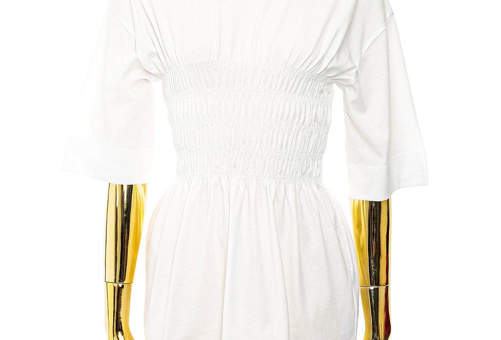 GANNI / Basic Cotton Jersey Smock T-Shirt / Bright White