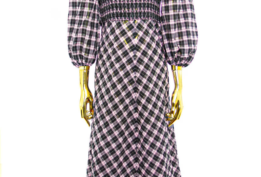 GANNI / Seesucker Check Mixi Dress / Sweet Lilac