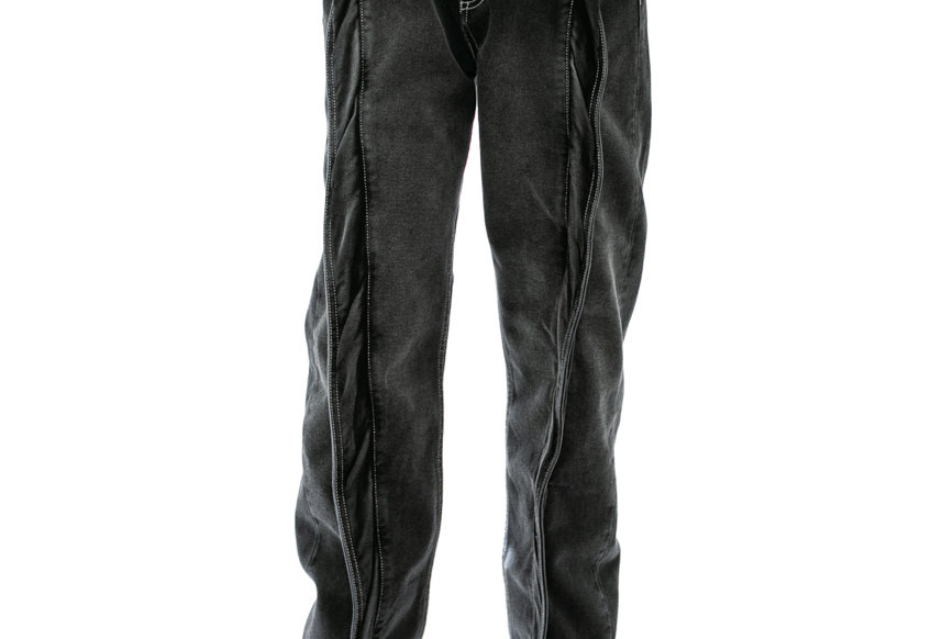 Y/PROJECT / TWISTED FRONT SEAM JEANS / BLACK