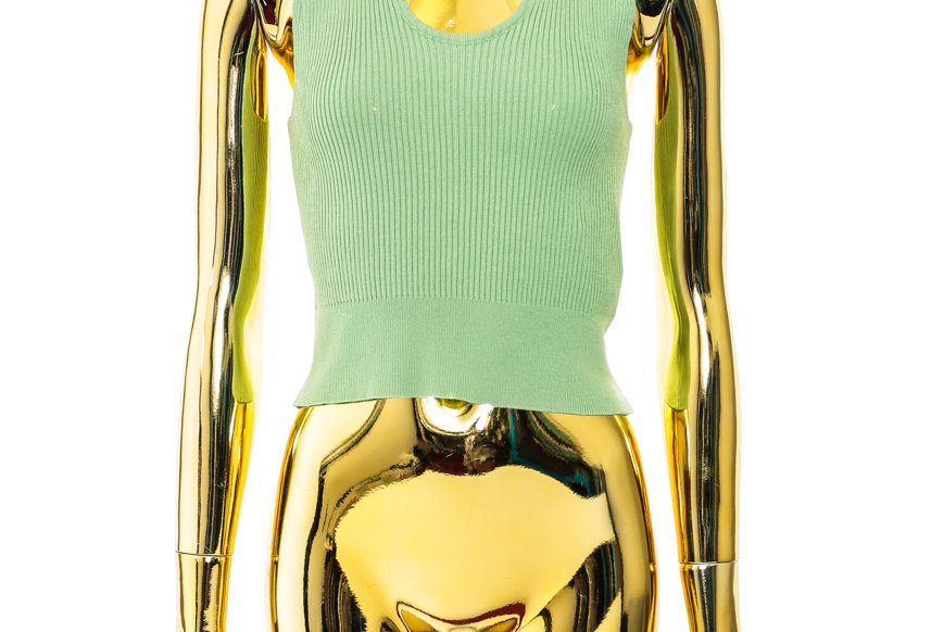 NODRESS / Green knit V neck vest