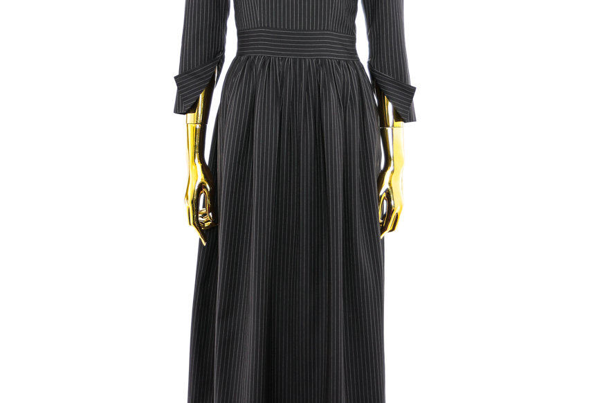 JOHN / Navy Striped Dress with PilgrimI Collar