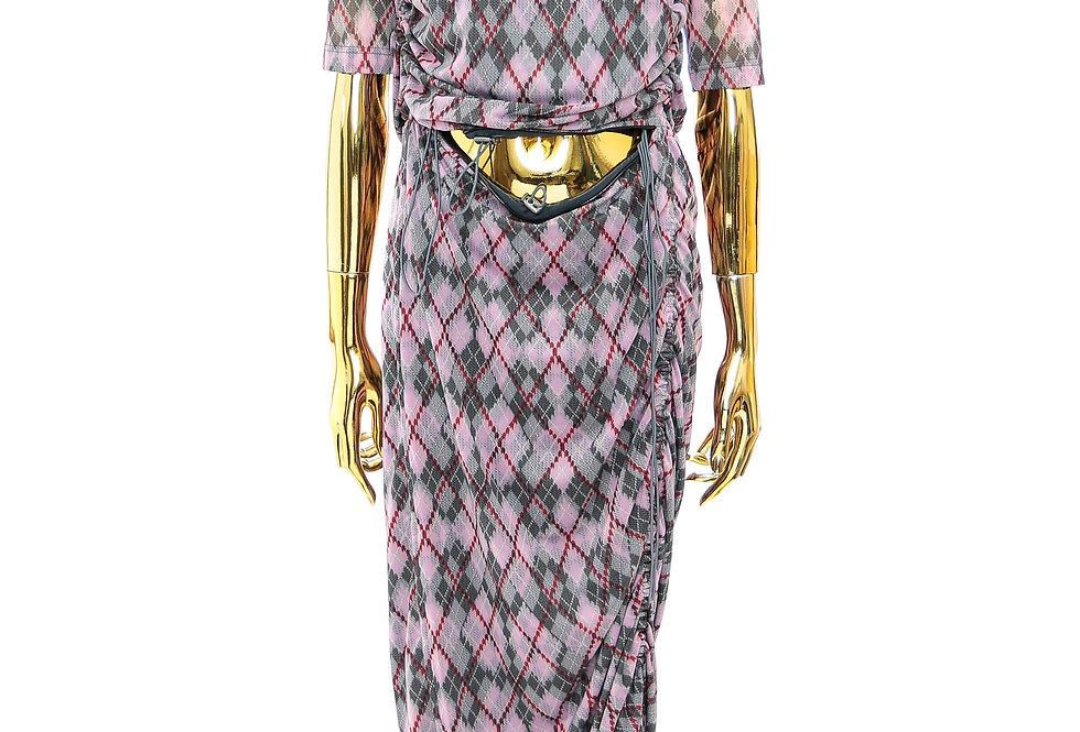 Y/PROJECT / CONVERTIBLE SPLIT ARGYLE T-SHIRT DRESS / PINK