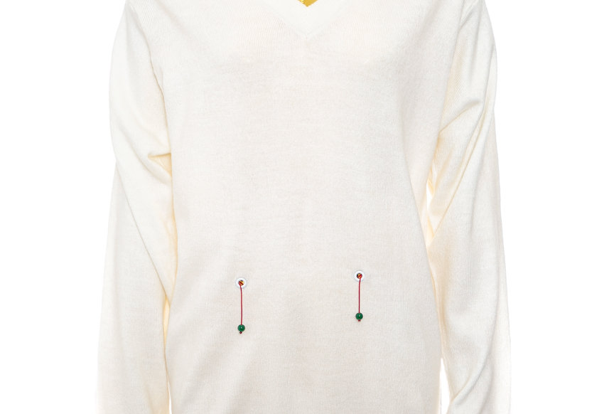 YAT PIT / V NECK KNIT WITH JADE DETAIL / CREAM