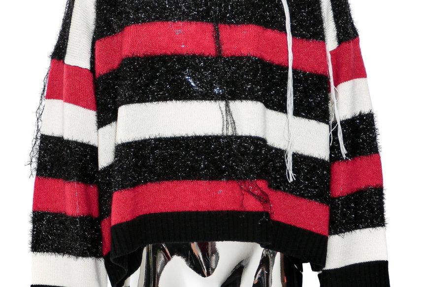 Charles Jeffrey /  SLASH STRIPE JUMPER / RED BLACK WHITE