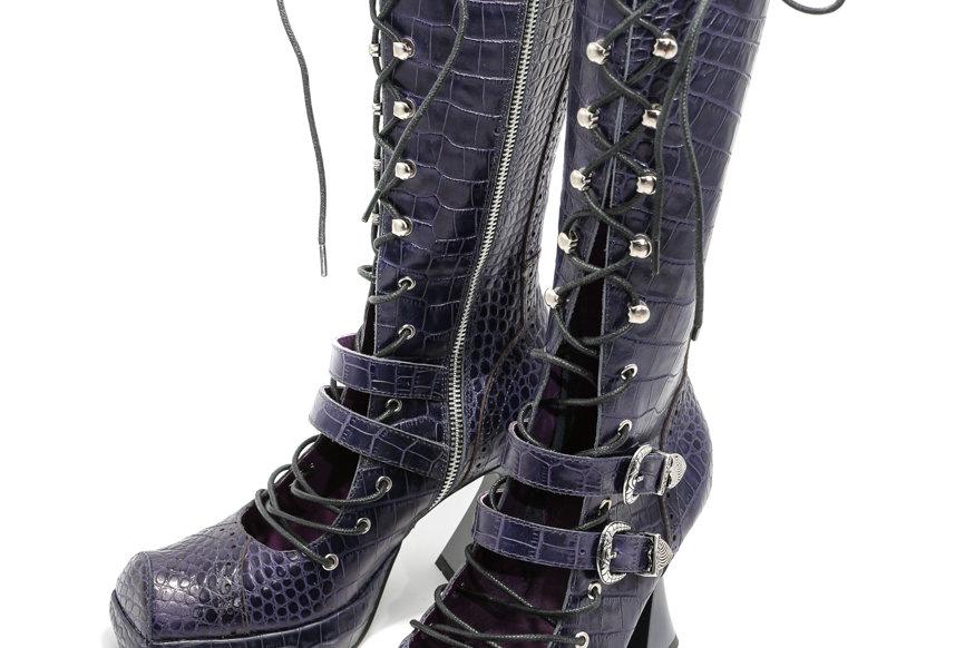 NODRESS / Deep blue-purple crocodile handmade lace-up high heel leather boots