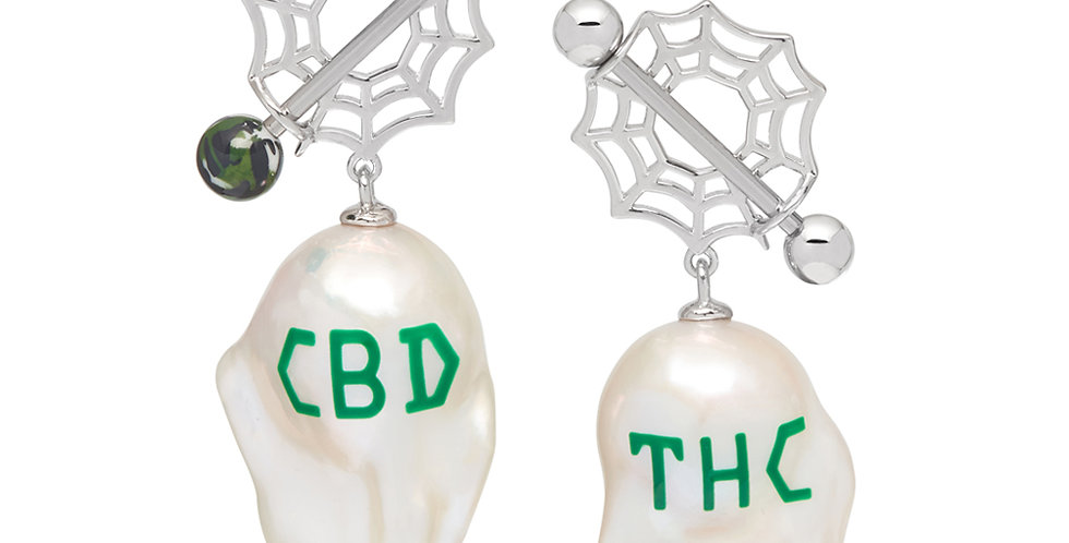 JIWINAIA / CBD/THC BAROQUE PEARL EARRINGS / RHODIUM