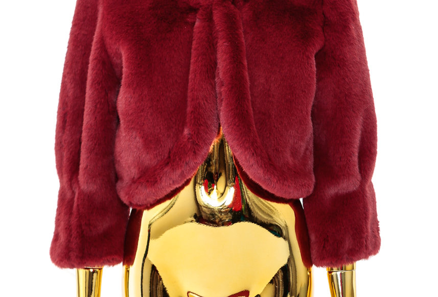 JOHN / Cropped Faux-Fur / Burgundy