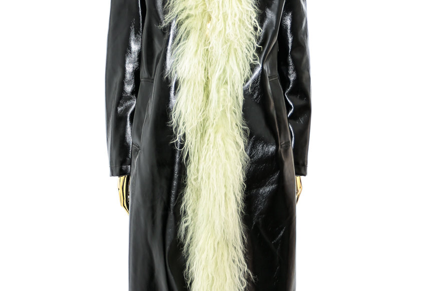 NODRESS / Green Mongolian Fur Trim PVC Leather Long Coat / Black