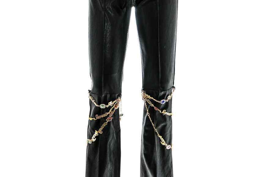NODRESS / Chained Slim Leather Pants / Black