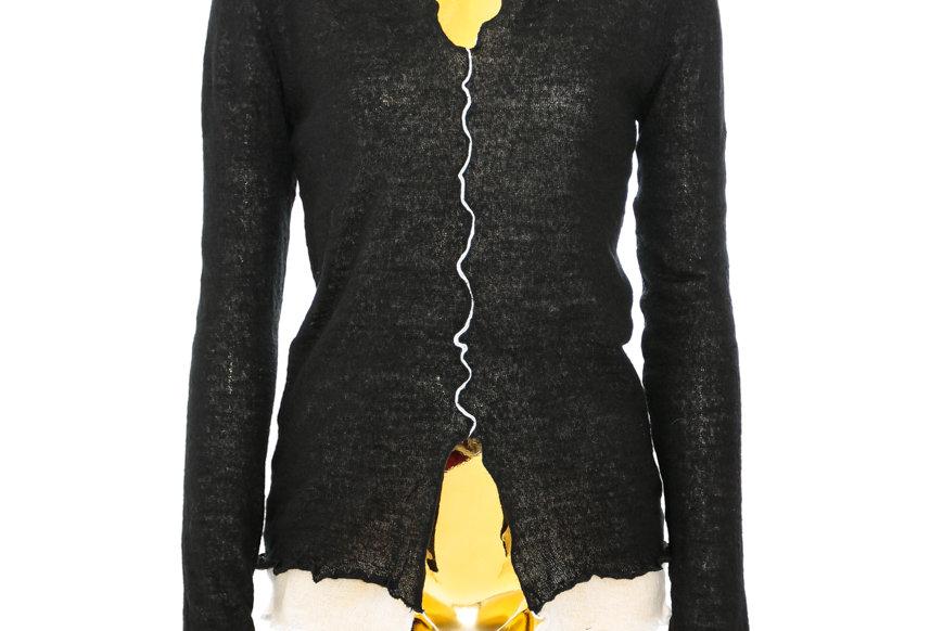 JOHN / Double Layer Mohair Knit Top / Black & White