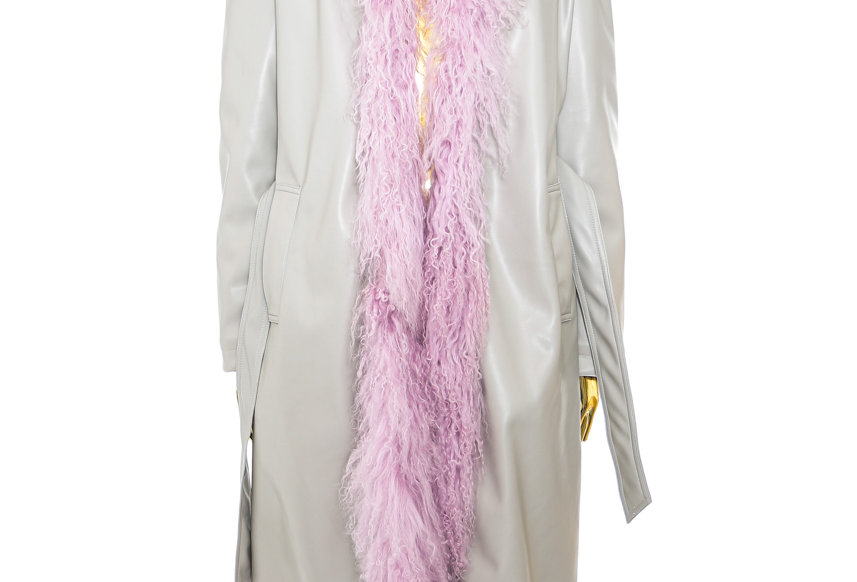 NODRESS / Pink Mongolian Fur Trim PVC Leather Long Coat / Beige