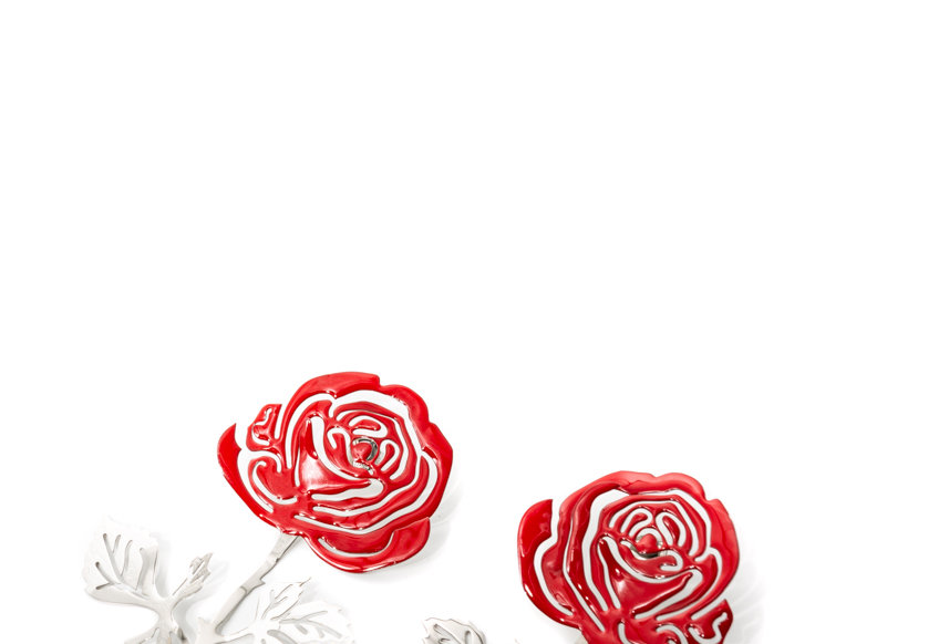Y/PROJECT / ROSE EARRINGS / RED/SILVER