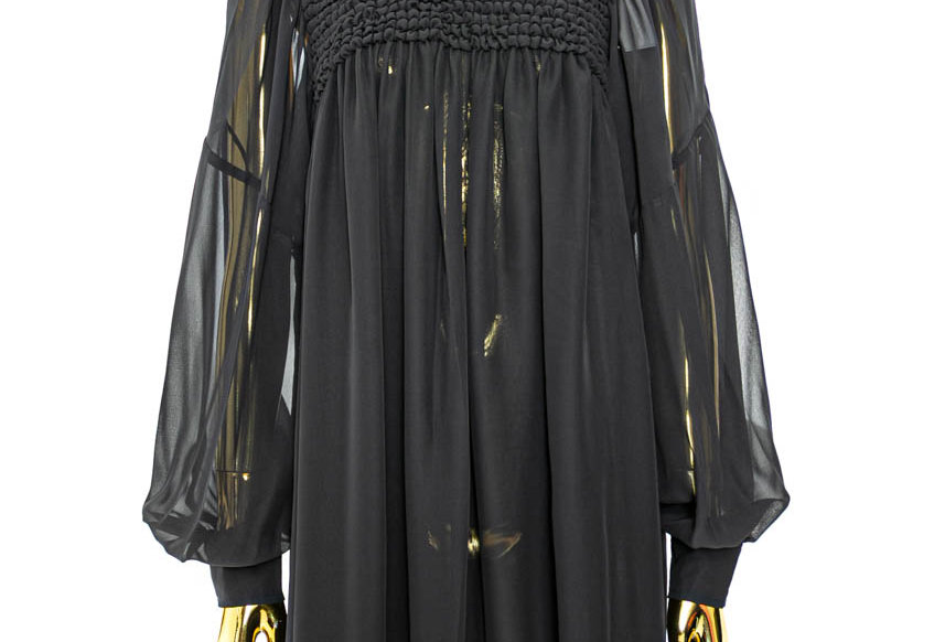 GANNI / Smock Chiffon Mini Dress / Black