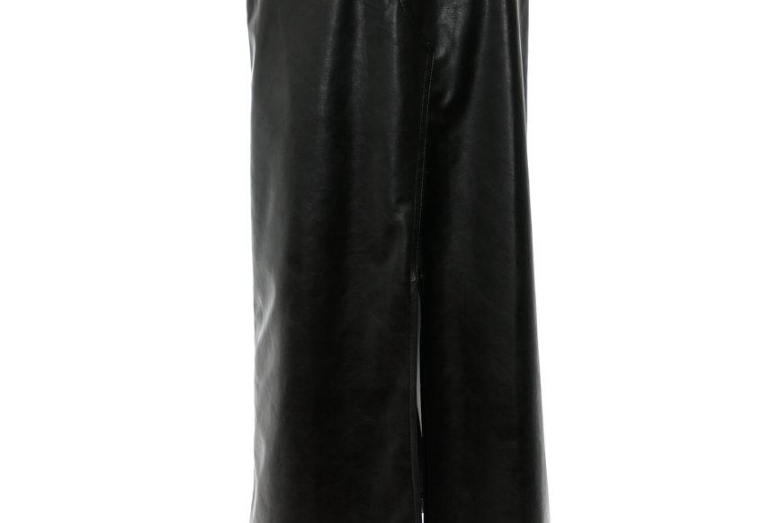JOHN / Black Faux Leather Slit Skirt