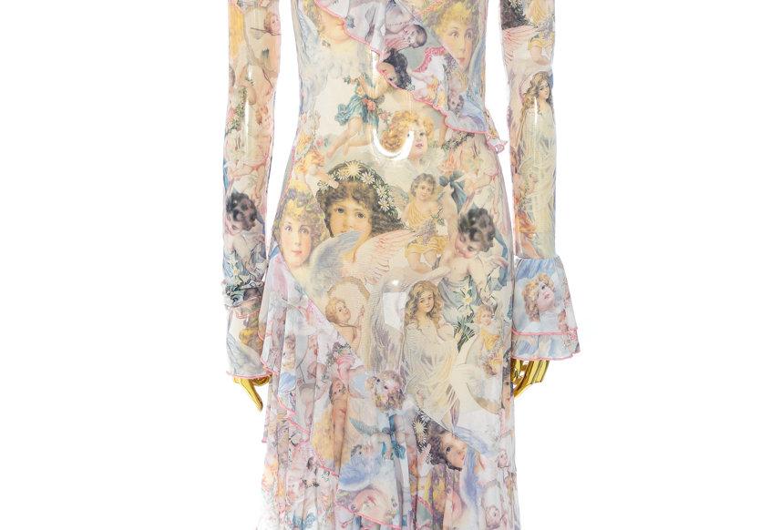 NODRESS / Angel print asymmetrical hollow long dress