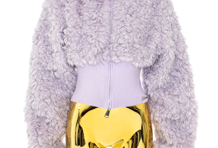 NODRESS / Faux Sheep Fur Short Jacket / Lilac