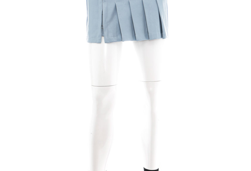 NODRESS / Leather Pleated Mini Skirt / Blue