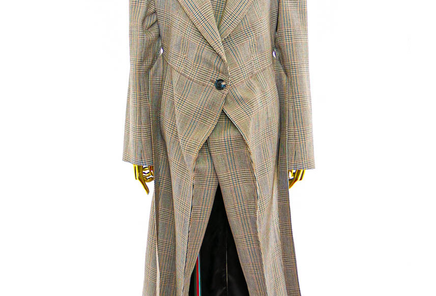Y/PROJECT / PULLED LINING COAT / BROWN CHECK