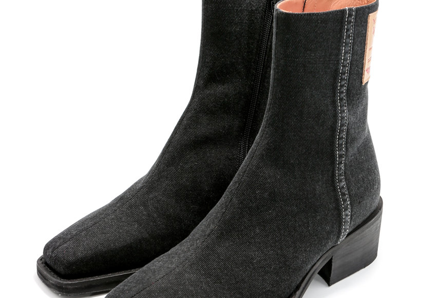 Y/PROJECT / FITTED ANKLE BOOTS / BLACK DENIM