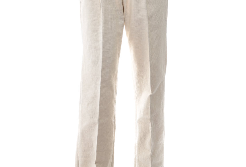 JOHN / Beige High Waist Linen Wide Pants
