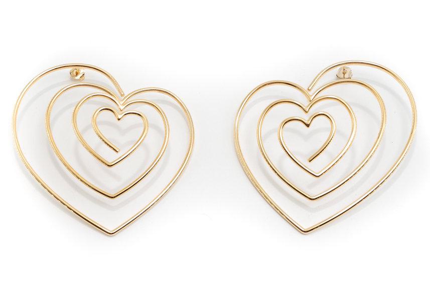 Y/PROJECT / HEART HOOP EARRINGS / GOLD