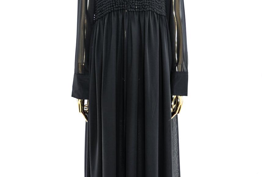 GANNI / Smock Chiffon Collar Dress / Black