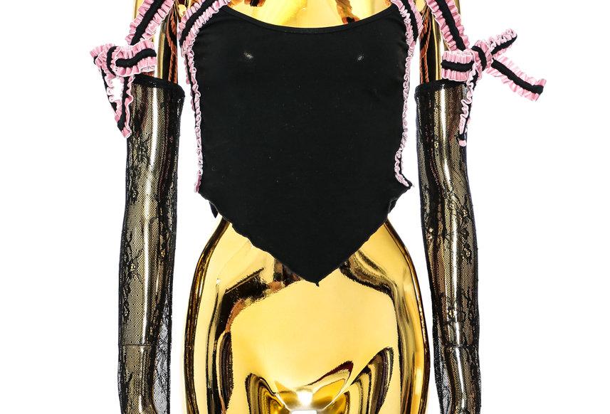 NODRESS / Pink Velvet Bowknot Lace Sleeve Top / Black