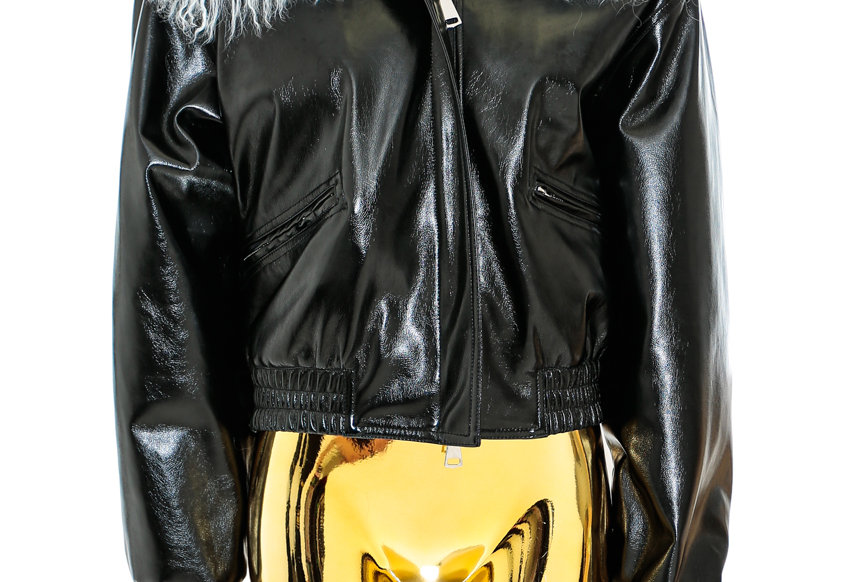 NODRESS / Blue Mongolian Fur PVC Bomber Jacket / Black