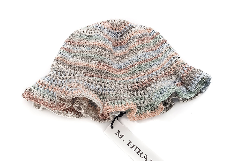 M. HIRAMATSU / Hand Knitted Bucket Hat / Multi-Beige