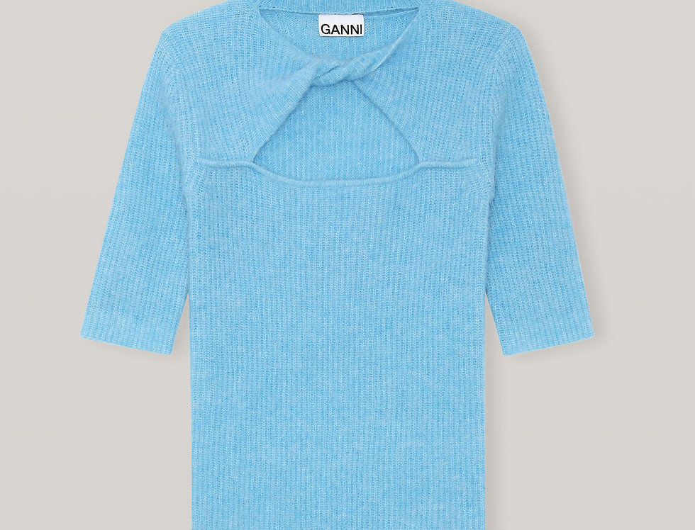GANNI / Soft Wool Knit Top / Bachelor Blue